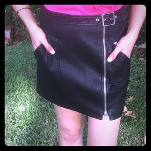 Obey vegan leather mini skirt with zipper buckle